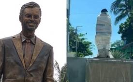 No duró ni una semana: vandalizaron y quitaron la estatua de Eugenio Derbez en Acapulco